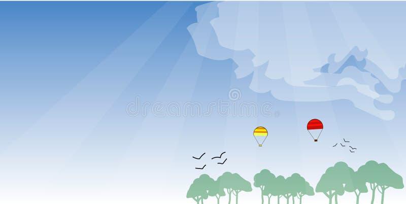 Lichte achtergrond van bos en hemel, luchtimpulsen, brede achtergrond stock illustratie