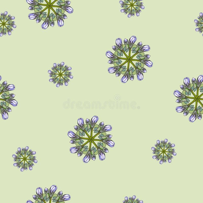 Lichte achtergrond van contourbloemen op groen Het ornament van de de lentebloem royalty-vrije illustratie