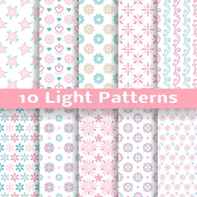 Lichte bloemen romantische vector naadloze patronen stock illustratie