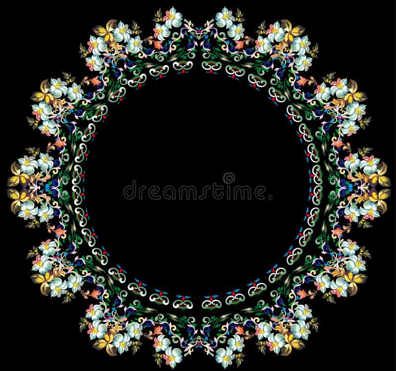 Lichte bloemronde op zwarte achtergrond stock illustratie