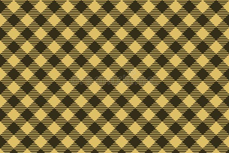 Lichte bruin - het zwarte naadloze patroon van de Houthakkersplaid royalty-vrije illustratie