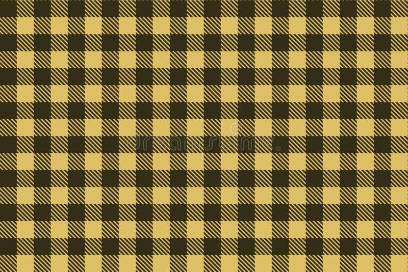 Lichte bruin - het zwarte naadloze patroon van de Houthakkersplaid vector illustratie