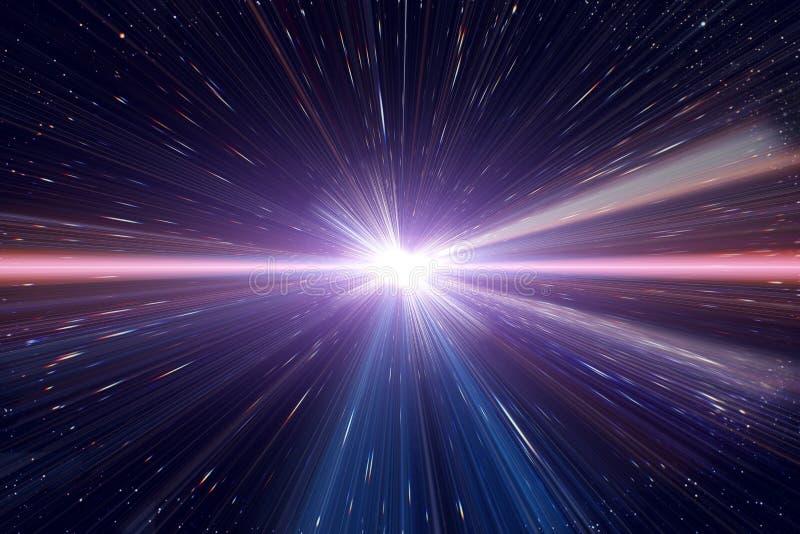 Lichte de tijdafwijking die van de snelheidsreis in kosmische ruimte reizen stock illustratie