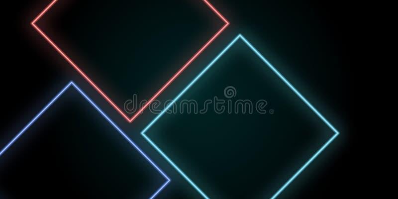 lichte de vierkantenachtergrond van de neon abstracte lijn royalty-vrije illustratie