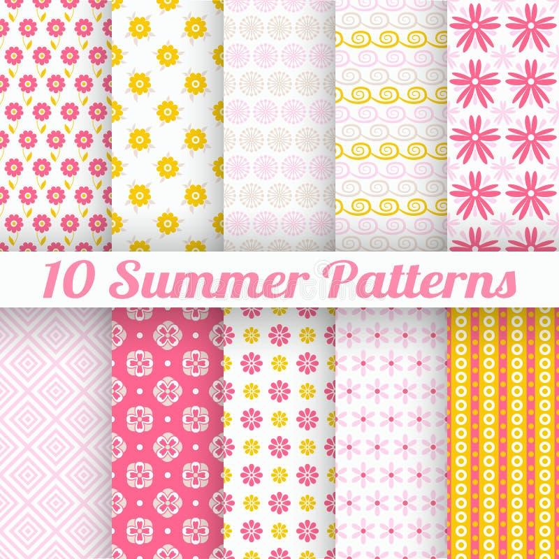 10 lichte de zomer vector naadloze patronen (het betegelen) royalty-vrije illustratie