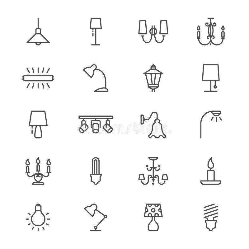 Lichte dunne pictogrammen royalty-vrije illustratie