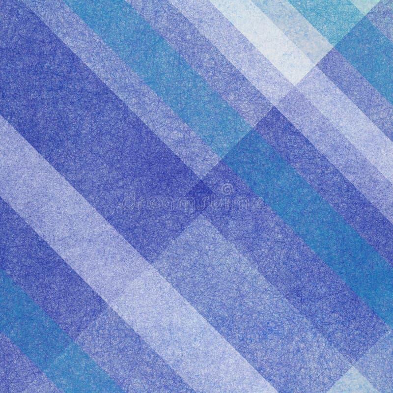Lichte en donkerblauwe en witte strepen en vormen in abstract geometrisch ontwerp als achtergrond met vage geweven materiële oppe vector illustratie