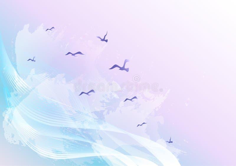 Lichte en heldere abstracte hemelachtergrond met vogels die in de wolken, de golven en de watervlekken vliegen royalty-vrije illustratie