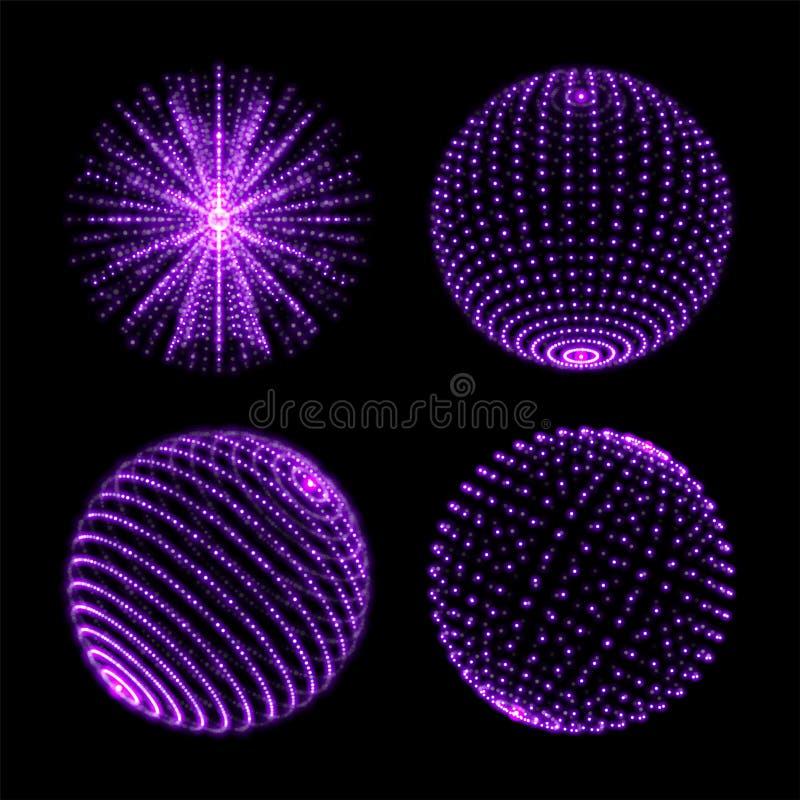 Lichte gebiedbal De vectorneonlichtbollen met spiraalvormige ultraviolet fonkelt en energiegloedstralen of deeltjes met puntverbi stock illustratie