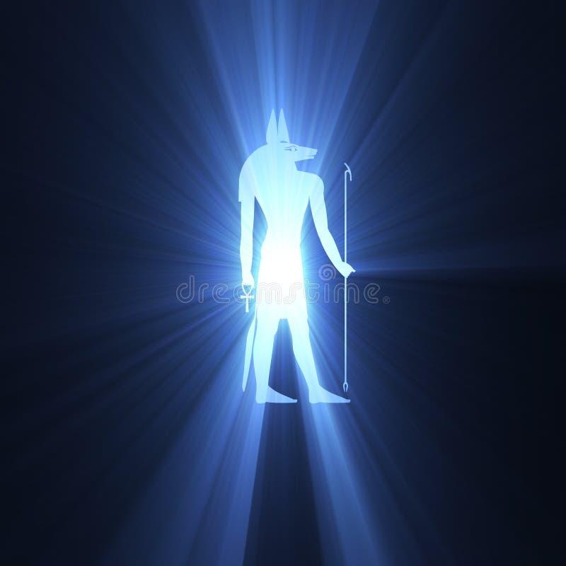 Lichte gloed van het Anubis de Egyptische symbool stock illustratie