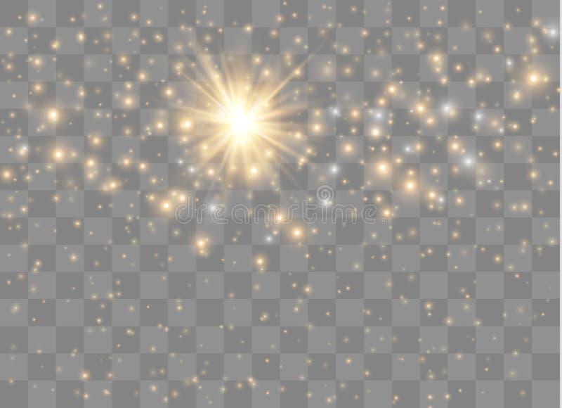 Lichte gloedsterren Vectorfonkelingen op transparante achtergrond Kerstmis abstract patroon Het fonkelen magische stofdeeltjes royalty-vrije illustratie