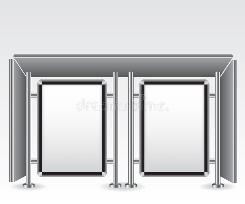 Lichte het aanplakbordillustratie van de bushaltestad vector illustratie