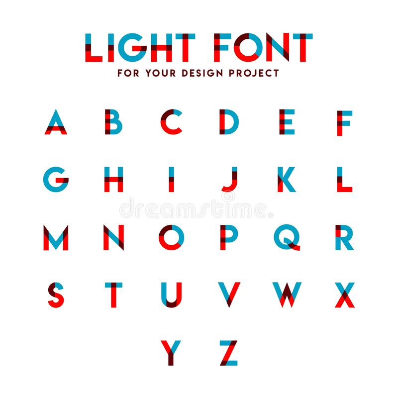 Lichte het Ontwerpillustratie van het Doopvont Vastgestelde Alfabetische Vectormalplaatje royalty-vrije illustratie