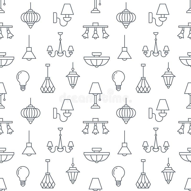 Lichte inrichting, lampen naadloos patroon, lijnillustratie stock illustratie