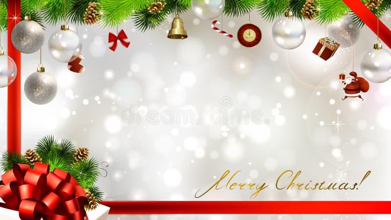 Lichte Kerstmisachtergrond met snuisterijen vector illustratie
