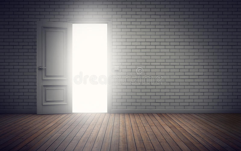 Lichte Komst door Deuropening het 3d teruggeven stock illustratie