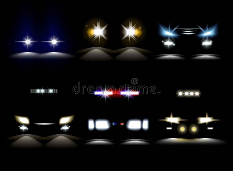 Lichte koplampen en het voertuigbumper van de politiewagenflitser stock illustratie