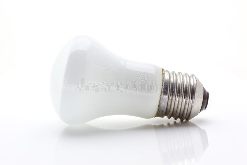 Lichte lamp op wit stock foto