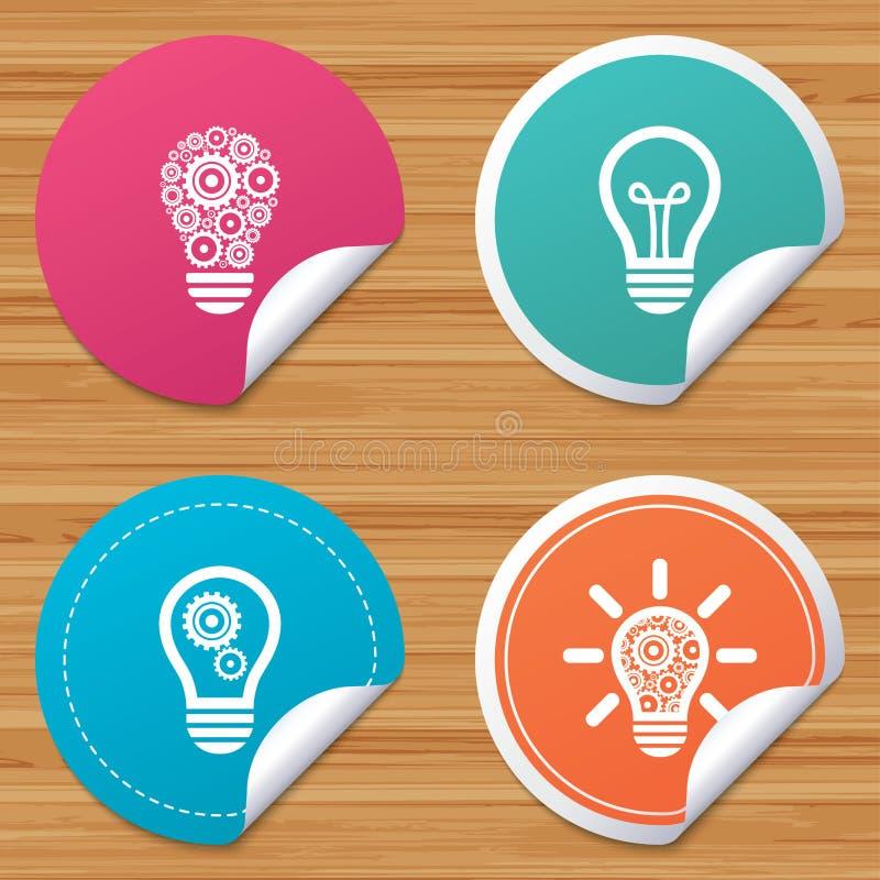Lichte lamppictogrammen Energie - besparingssymbolen royalty-vrije illustratie