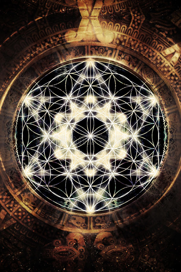 Lichte merkaba en bloem van het leven in kosmische ruimte Heilige Meetkunde vector illustratie
