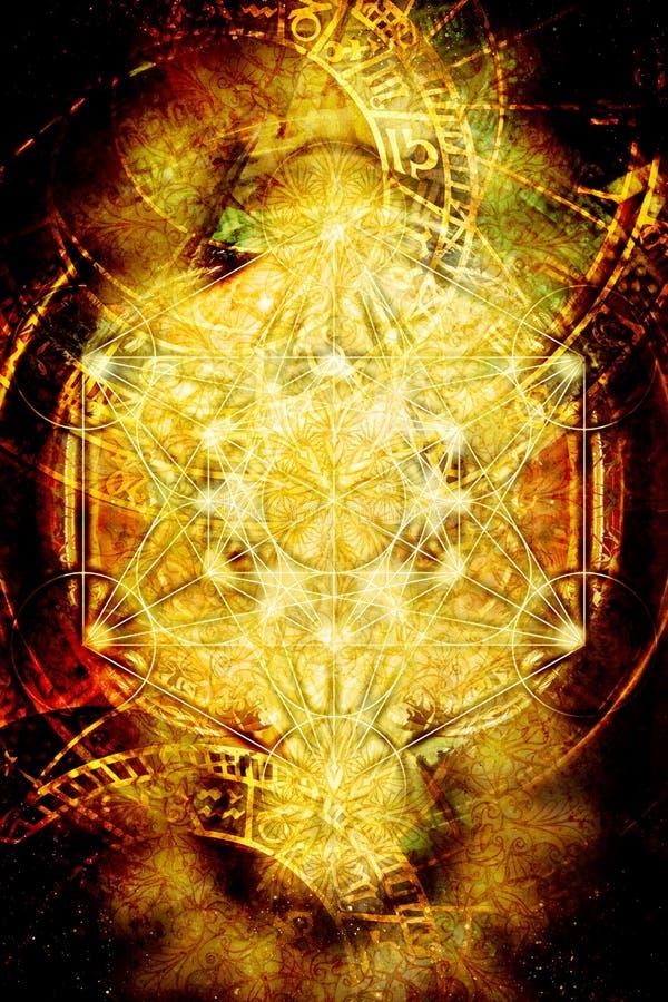 Lichte merkaba en dierenriem en abstracte achtergrond Heilige Meetkunde vector illustratie