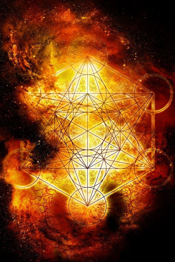 Lichte merkaba in kosmische ruimte Heilige Meetkunde Brandeffect stock illustratie