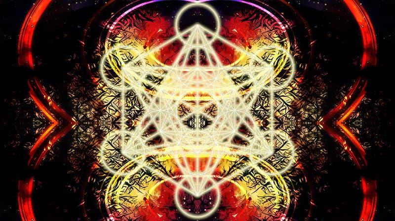 Lichte merkaba op abstracte kleurenachtergrond Heilige Meetkunde vector illustratie
