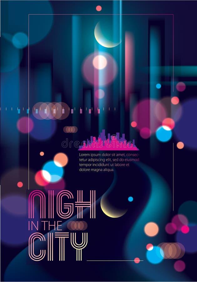 Lichte nacht bij stad, bokeh abstracte achtergrond vage lichten e stock illustratie