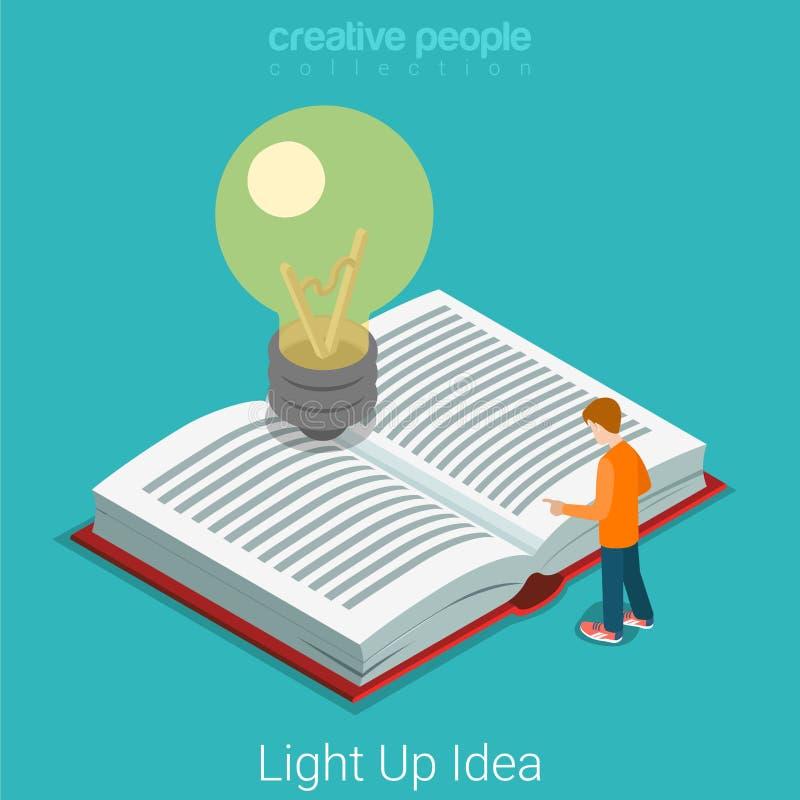 Lichte omhoog heldere idee bedrijfsonderwijs vlakke 3d vector isometrisch vector illustratie