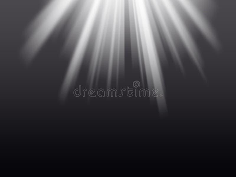Lichte stralen op de zwarte achtergrond royalty-vrije illustratie