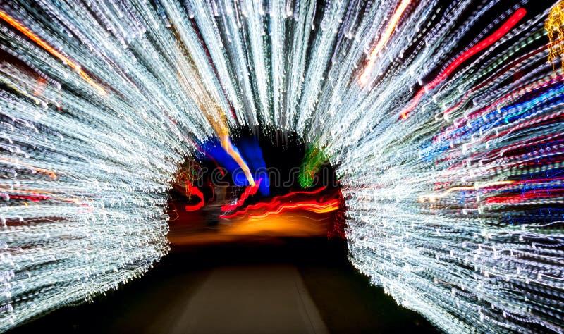 Lichte tunnel in motie stock fotografie