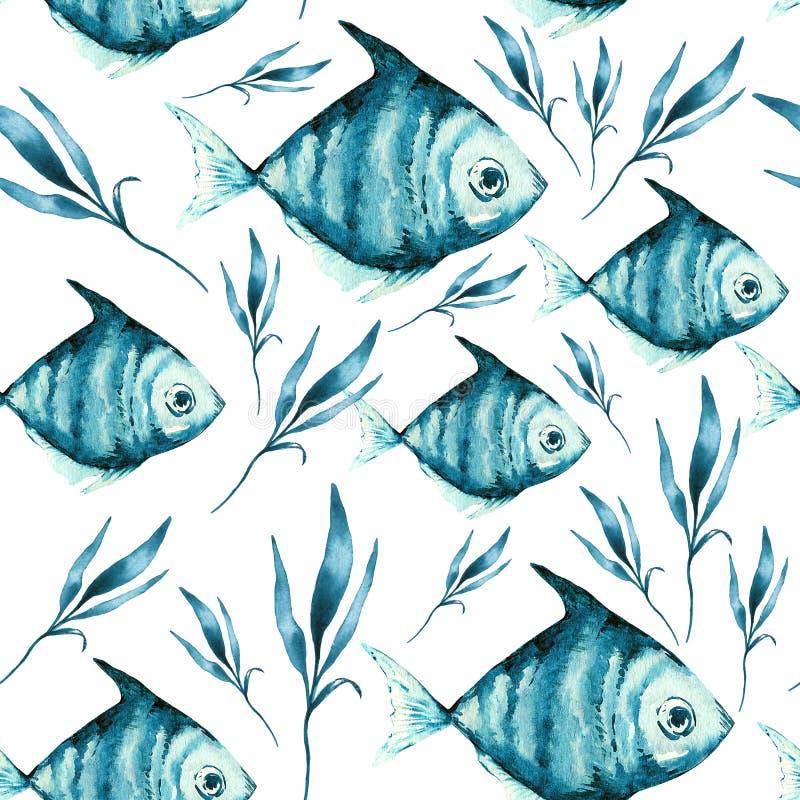 Lichte waterverf blauwe vissen op de zwarte achtergrond stock illustratie
