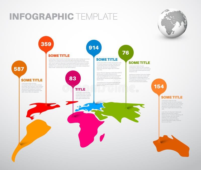Lichte Wereldkaart met de tekens van de druppeltjeswijzer royalty-vrije illustratie