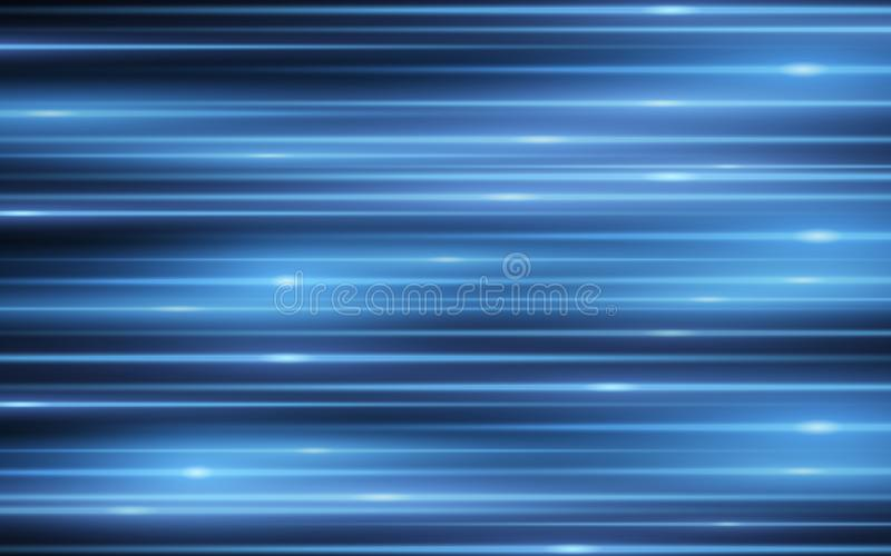 Lichteffect Abstracte achtergrond van blauwe laserlichtstralen op zwarte achtergrond Chaotische gloeiende neonlijnen van licht Ve royalty-vrije illustratie