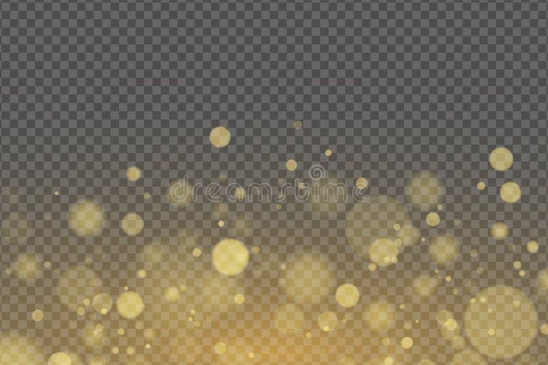 Lichteffect van gouden geïsoleerde glans bokeh voor transparante achtergrond Heldere gloed Gouden schittert Willekeurige onscherp vector illustratie