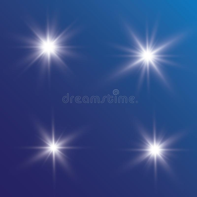 Lichteffectgloed Ster opgevlamde lovertjes Abstracte ruimteachtergrond De straal van het flitshoogtepunt Fantastisch ontwerp royalty-vrije illustratie