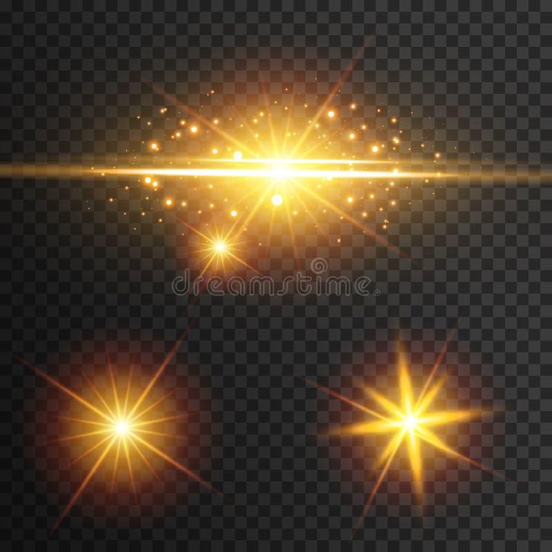 Lichteffectgloed Ster opgevlamde lovertjes Abstracte ruimteachtergrond De straal van het flitshoogtepunt Fantastisch ontwerp vector illustratie
