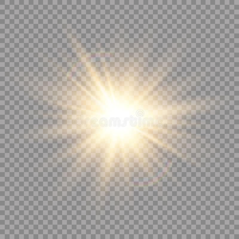 Lichteffekt des Glühens Stern-Explosion mit Scheinen Sun Auch im corel abgehobenen Betrag lizenzfreie abbildung
