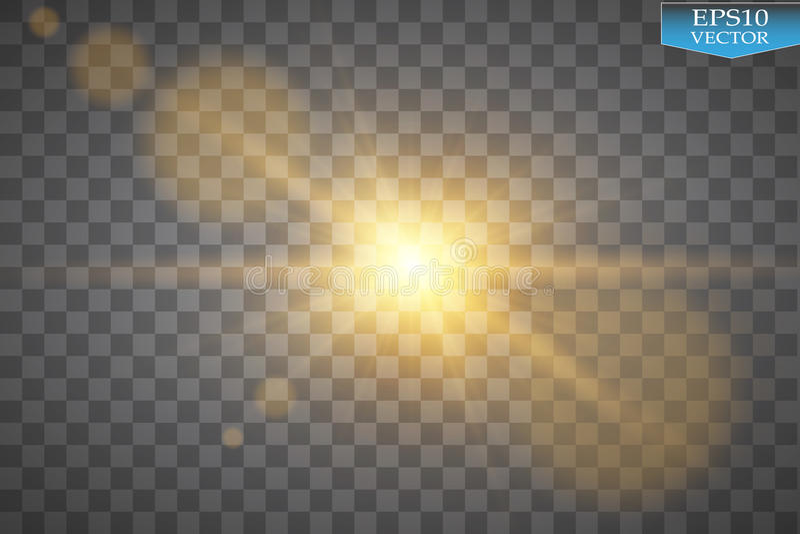 Lichteffekt des transparenten Blendenflecks des Sonnenlichts des Vektors speziellen Sun-Blitz mit Strahlen und Scheinwerfer lizenzfreie abbildung