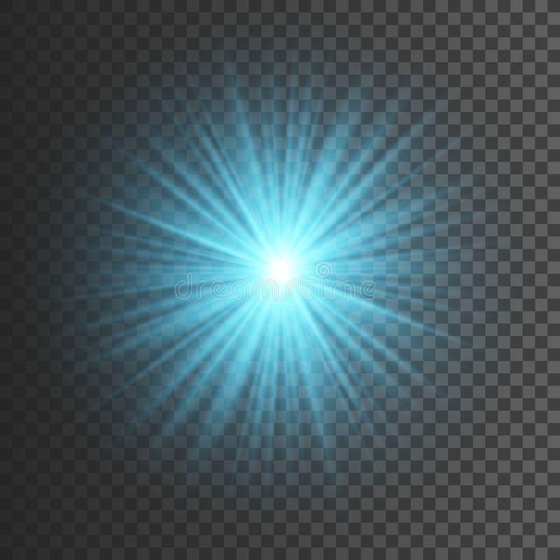 Lichteffekt des transparenten Glühens Stern-Explosion mit Scheinen Blaues Funkeln Auch im corel abgehobenen Betrag stock abbildung