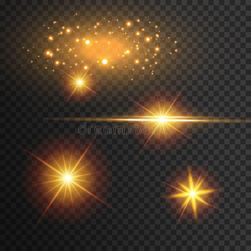 Lichteffektglühen Stern blitzte Paillette Abstrakter Platzhintergrund Greller Höhepunktstrahl Fantastische Auslegung vektor abbildung