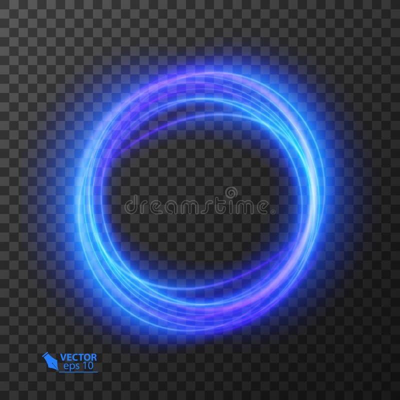 Lichteffektlinie Goldvektorkreis Glühende helle Feuerringspur Scheinstrudelhintereffekt des Funkelns magischer an stock abbildung