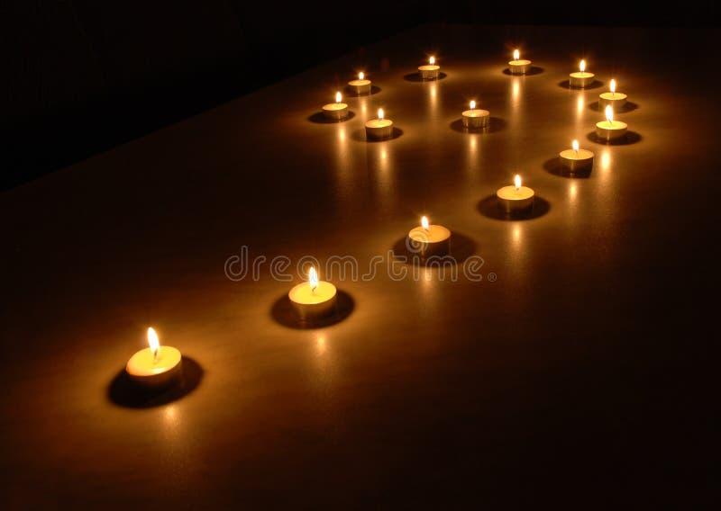 Lichten in dark royalty-vrije stock fotografie