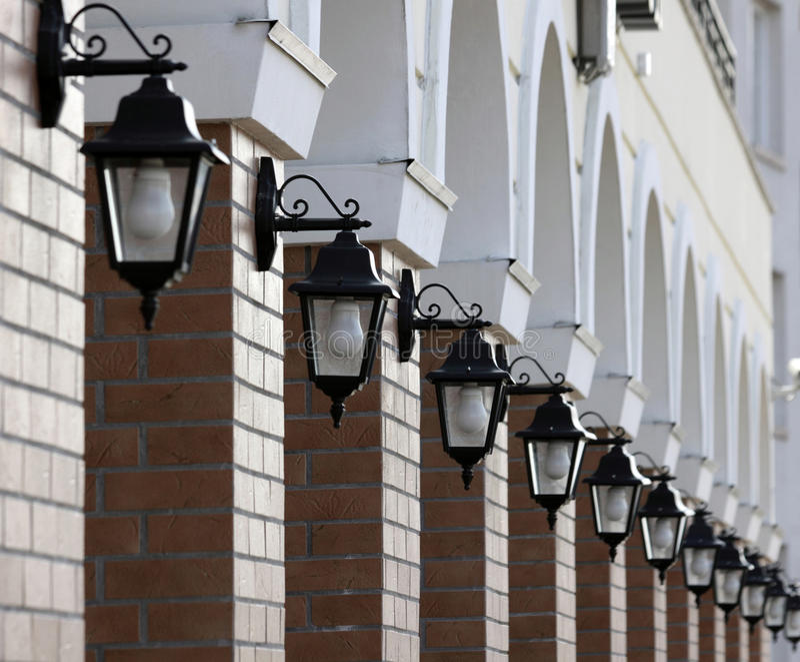 Lichten op de muur royalty-vrije stock afbeeldingen