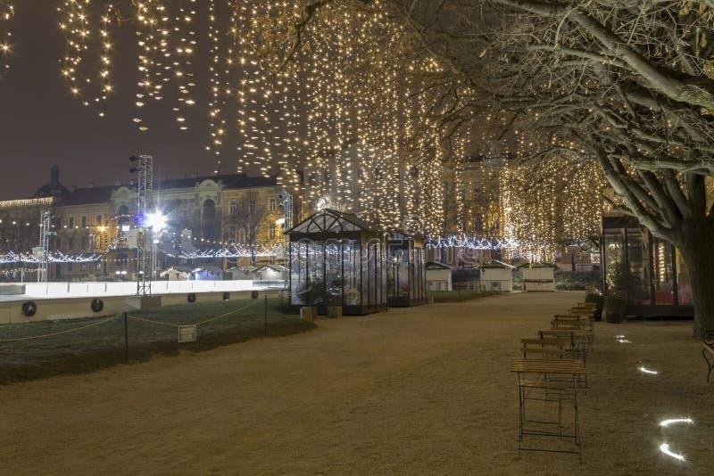 Lichten op een straat bij Komst royalty-vrije stock afbeeldingen