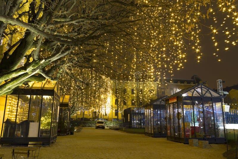Lichten op een straat bij Komst royalty-vrije stock afbeelding