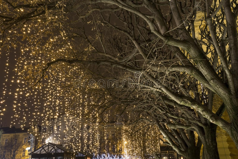 Lichten op een straat bij Komst royalty-vrije stock foto's