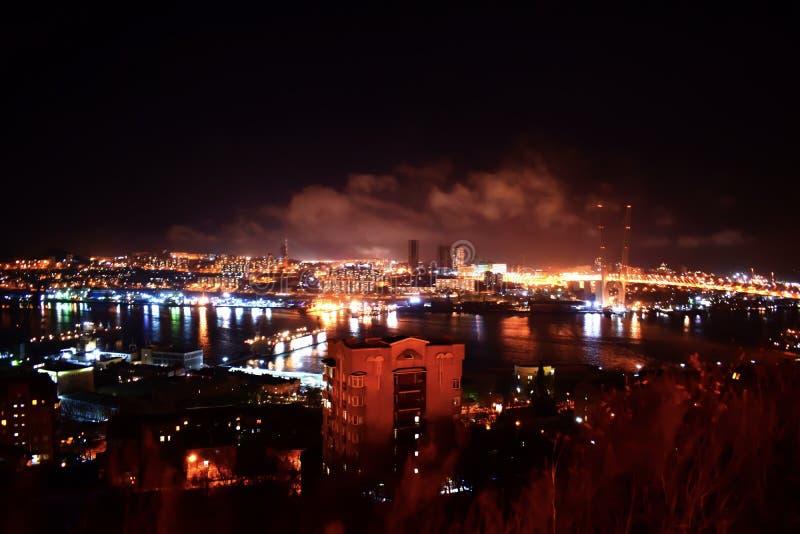 Lichten van de schoonheidsweg bij nacht in Vladivostok royalty-vrije stock afbeelding