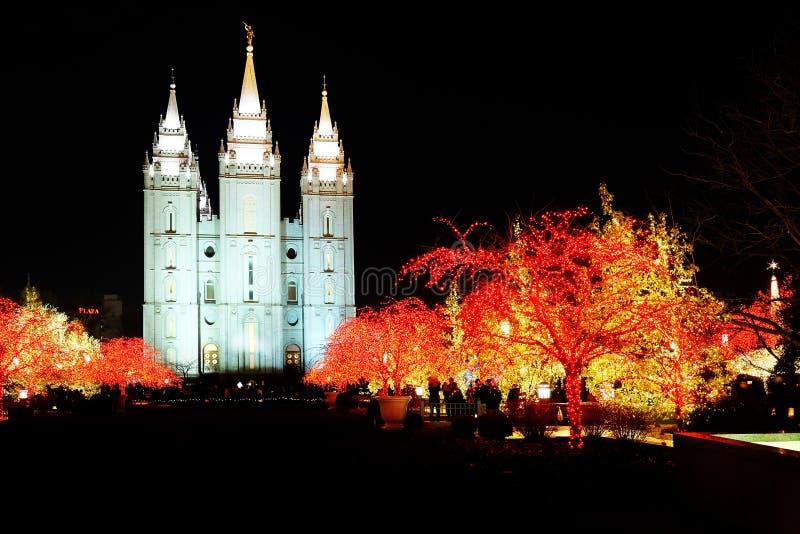 Lichten van de Tempelkerstmis van Salt Lake City de Mormoonse royalty-vrije stock foto
