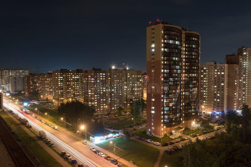 Lichten van nacht Dolgoprudny stock afbeeldingen